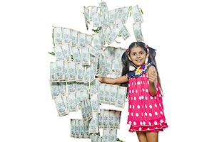 Child Girl Tree Money Saving