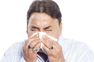 Sick Senior Man Sneezing Flu Cold