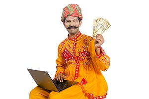 Gujrati Man Laptop Money