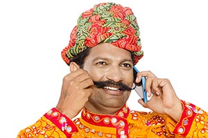Gujrati Man Talking Mobile Phone