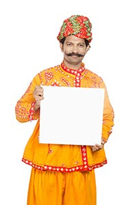 Gujrati Man Showing Whiteboard