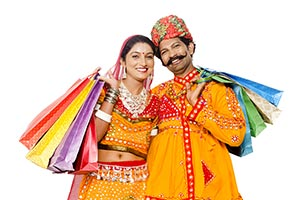 Gujrati Couple Shopping Bags