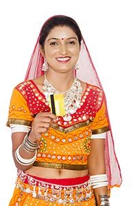 Rajasthani Woman Showing Credit Card