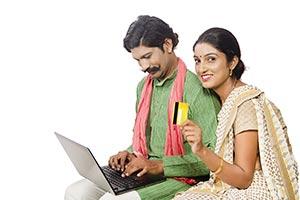 Rural Couple Laptop Shopping Credit Card