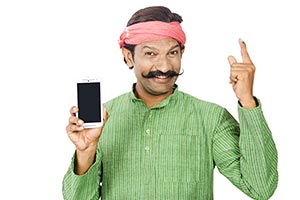 Rural Man Showing Mobile Phone