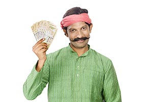 Indina Rural Man Showing Money