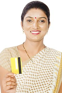 Rural Woman Showing Credit Card