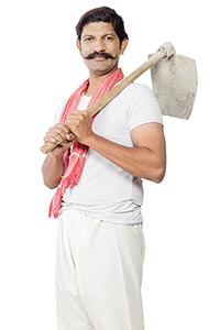 Indian Farmer Man Carrying Spade