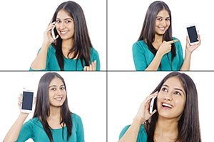 Montage Photo Woman Phone Technology