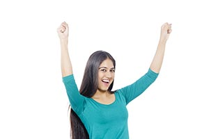 Indian Young Woman Cheering