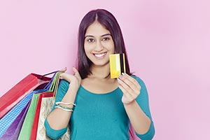 Young Woman Credit Card Shopping