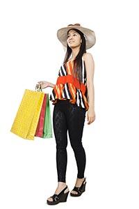 Beautiful Woman Walking Shopping