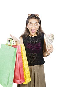 Young Girl Shopping Bags Money