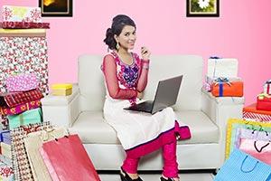 Indian Girl Diwali Shopping Laptop