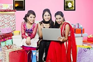 Girls Friends Diwali Shopping Laptop