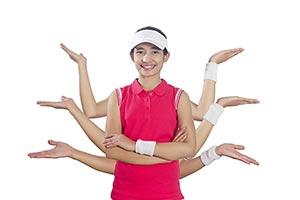 Tennis Girl Hands Multi Tasking