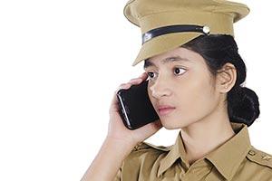 Indian Girl Police Talking Phone