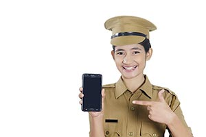 Girl Police Phone Pointing Showing