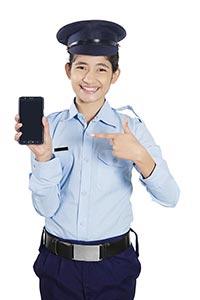 Girl Securityguard Phone Showing