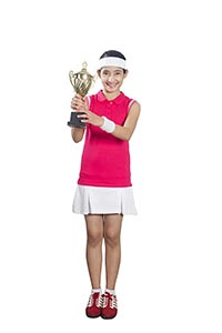 Girl Tennis Trophy Showing