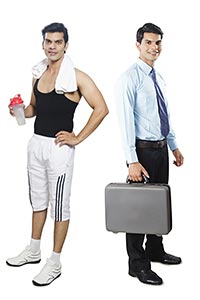 Comparison Businessman Gym Man Multiple Personalit