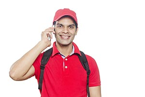 Indain Delivery Man Talking Cellphone