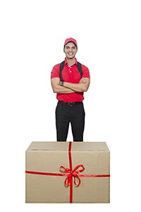 Delivery Man Standing Cardboard Gift Box