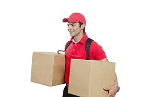 Delivery Man Courier Carrying Cardboard Box