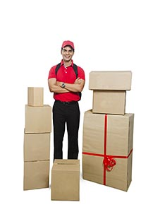 Composite Delivery Man Standing Cardboard Boxes