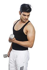 Conscious Men Muscles Exercise Lifting Dumbbells