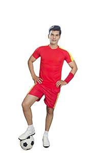 Indian Man Soccer Player Standing Ball