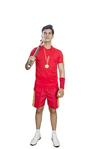 Indian Hockey Man Player Standing Medal