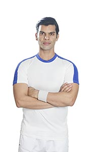 Serious Sports Man Tennis Player Arms crossed