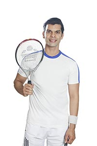 Sports Man Tennis Player Holding Racket
