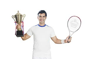 Sports Male Tennis Player Trophy Victory