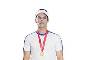 Sports Man Tennis Player Wearing Gold Medal