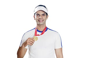 Indian Tennis Player Showing Gold Medal Victory