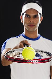 Tennis Man Player Showing Ball Racket
