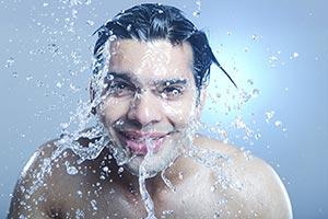 Indian Man Washing Face Splash Water