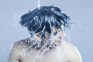 Man Bathing Pouring Water Head