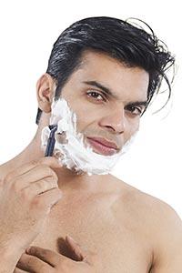 Man Shaving Cream Face Preparing Shave Razor