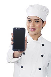 Woman Chef Showing Chellphone