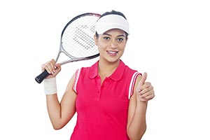Female Tennis Player Thumbs up