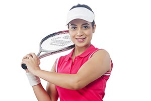 Woman Tennis Player Holding Racket