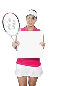 Female Tennis Player Showing Message Board