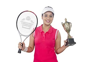 Woman Tennis Player Trophy Victory