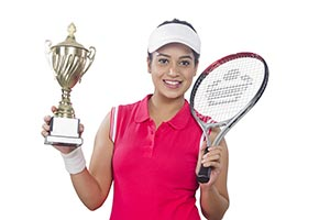 Female Tennis Player Trophy Victory