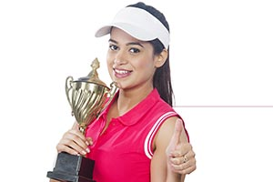 Woman Tennis Player Trophy Thumbsup