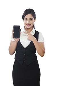 Businesswoman Showing Smartphone Pointing