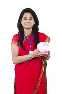 Business Woman Saving Money Piggybank
